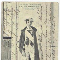 Postales: POSTAL, S.M. DON ALFONSO XIII, REY DE ESPAÑA AUSER Y MENET 420, SIN DIVIDIR, CIRCULADA CON SU SELLO. Lote 205405131