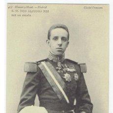 Postales: POSTAL, S.M. DON ALFONSO XIII, REY DE ESPAÑA, HAUSER Y MENET 415, DIVIDIDA, SIN CIRCULAR. Lote 205405527