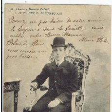 Postales: POSTAL, S.M. DON ALFONSO XIII, REY DE ESPAÑA, HAUSER Y MENET 586, SIN DIVIDIR, CIRCULADA CON SU SELL. Lote 205408070