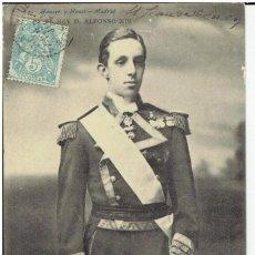 Postales: POSTAL, S.M. DON ALFONSO XIII, REY DE ESPAÑA, HAUSER Y MENET 749, SIN DIVIDIR, CIRCULADA CON SU SELL. Lote 205408433