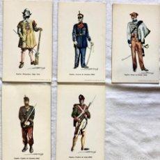 Postales: LOTE 5 POSTALES MILITARES UNIFORMES EJERCITO ESPAÑOL ILUSTRADAS POR R. ANDRES. Lote 213917947