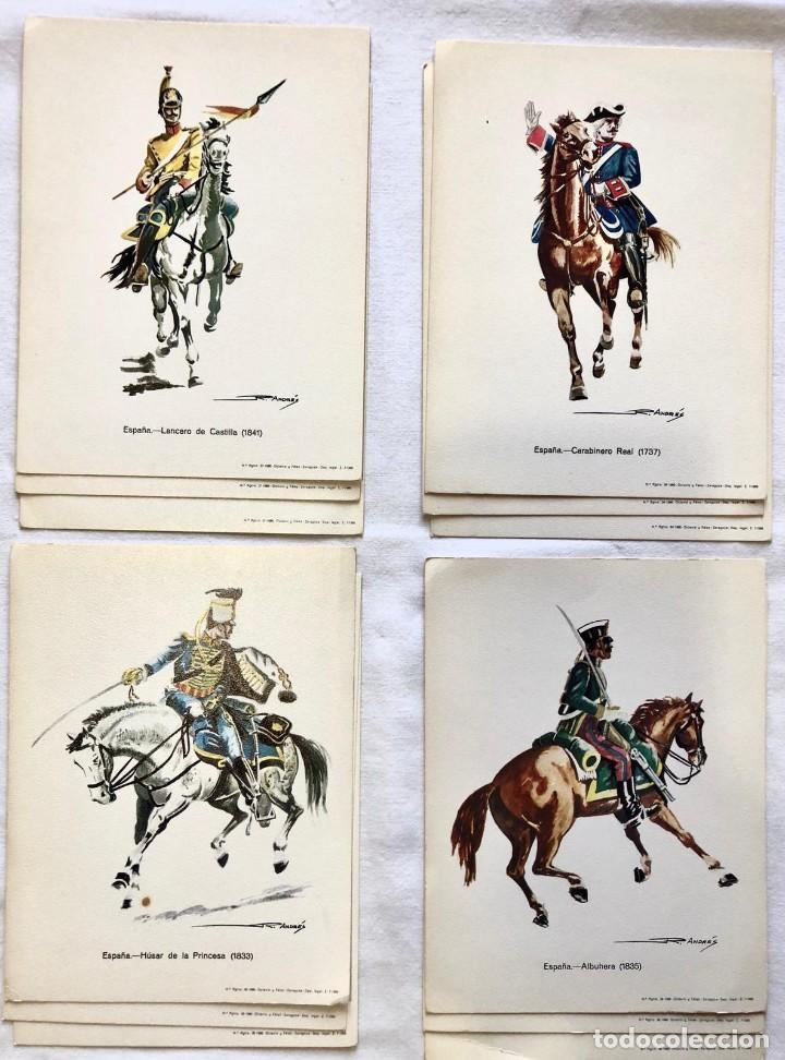 LOTE 4 POSTALES MILITARES UNIFORMES EJERCITO ESPAÑOL ILUSTRADAS POR R. ANDRES. (Postales - Postales Temáticas - Militares)