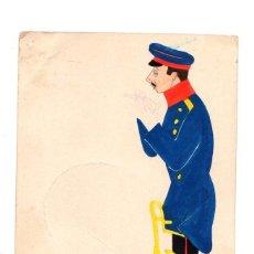 Postales: TARJETA POSTAL CON ESCENA MILITAR PINTADA. ACUARELA. C. 1910. Lote 214168393