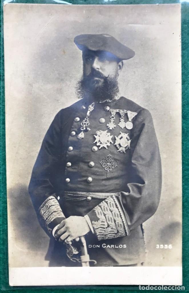 TARJETA POSTAL CARLISTA. DON CARLOS VII. CIRCULADA EN 1904 (Postales - Postales Temáticas - Militares)