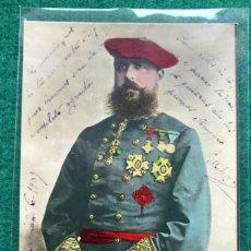 Postales: TARJETA POSTAL CARLISTA. DON CARLOS VII. CIRCULADA EN 1907. COLOREADA. Lote 216805601