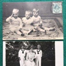 Postales: 2 TARJETAS POSTALES. MONARQUÍA ESPAÑOLA. FAMILIA DE ALFONSO XIII. Lote 216806738