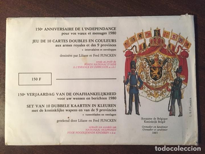 CARTAS-POSTALES DOBLES 150 ANIVERSARIO INDEPENDENCIA BÉLGICA, MUY RAROS Y ESCASOS - 1980 (MILITARES) (Postales - Postales Temáticas - Militares)