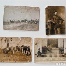 Postales: 4 FOTOPOSTALES MILITARES , CABALLOS. Lote 221644327