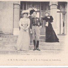 Postales: MONARQUIA S. M. ALFONSO XIII Y LA PRINCESA DE BATTENBERG. POSTAL FRANCESA CIRCULADA EN 1906. Lote 222595908
