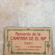 Postales: BLOCK RECUERDO DE LA CAMPAÑA DE EL RIF 1921 SERIE I MELILLA. Lote 223832952