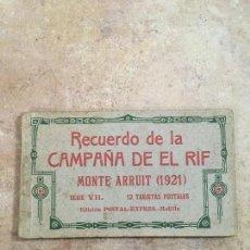 Postales: BLOCK RECUERDO DE LA CAMPAÑA DE EL RIF 1921 SERIE VII MELILLA. Lote 223836962