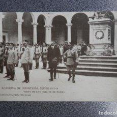 Postales: TEMATICA MILITAR ACADEMIA INFANTERIA 1913-14 VISITA DUQUES PARMA POSTAL ANTIGUA. Lote 236406045