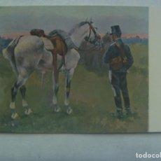 Postales: POSTAL CON CUADRO MILITAR DE CUSACHS: SOLDADO DE CABALLERIA APEADO . AÑOS 50 MUSEO ARTE BARCELONA. Lote 236618745