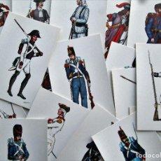 Postales: REGIMIENTOS ESPAÑOLES SUS UNIFORMES A TRAVÉS DE LA HISTORIA- REGIMIENTO Nº 1 REY SERIE COMPLETA. Lote 246616430
