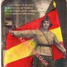 Cartes Postales: POSTAL PATRIOTICA. MUJER CON BANDERA, EN EL ALCAZAR DE UN MORO......... Lote 261115335