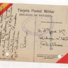 Postales: TARJETA POSTAL CENSURA MILITAR. BRIGADAS DE NAVARRA. ESCRITA DESDE VEGACERVERA. LEON. 1937. Lote 262721450