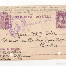 Postales: TARJETA POSTAL CENSURA MILITAR CUCHO. BURGOS. GRUPO DE BATERIA DE MONTAÑA. 51 DIVISION. 1938. Lote 262722700