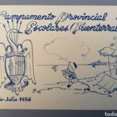 Postales: FUENTERRABIA. GUIPÚZCOA. CAMPAMENTO PROVINCIAL ESCOLARES. 1956. POSTAL ILUSTRADA. FRENTE JUVENTUDES. Lote 268028889