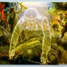 Postales: WWII SOUL OF SOLDIER IN ATTACK PPSH RED FLAG MILITARY NOT GIVE UP NEW POSTCARD - BESSONOV S.. Lote 278744743