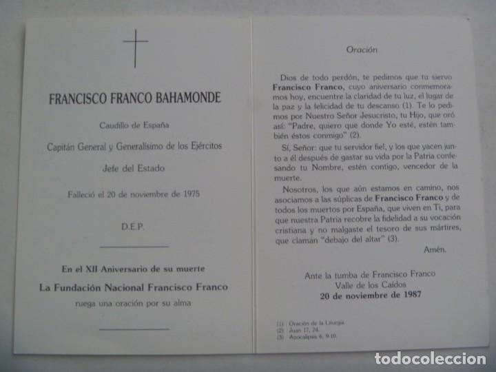 Postales: RECORDATORIO MUERTE DE FRANCISCO FRANCO . FUNADACION FRANCISCO FRANCO, 1987 - Foto 2 - 279458953