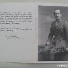 Postales: RECORDATORIO MUERTE DE FRANCISCO FRANCO . FUNADACION FRANCISCO FRANCO, 2011. Lote 280478088