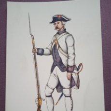 Postales: TARJETA UNIFORME AÑO 1789 DEL REGIMIENTO DEL REY NÚM.1. Lote 289484528