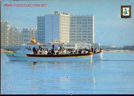 92-LA MANGA.MURCIA-HOTEL DOBLEMAR CASINO,VISTA DESDE EL MAR MENOR. (Postales - España - Murcia Moderna (desde 1.940))