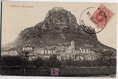 MURCIA. MONTEAGUDO. FOTOTIPIA THOMAS. CIRCULADA EN 1913 (Postales - España - Murcia Antigua (hasta 1.939))