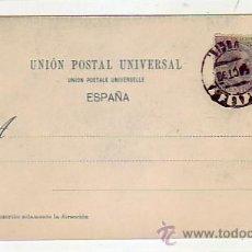 Postales: ALFONSO XIII PELON EN TARJETA POSTAL (UN QUITE: HAUSER Y MENET) CON MATASELLOS CARTAGENA 1899. RARA . Lote 23428032