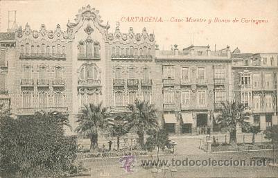 CARTAGENA – CASA MAESTRE Y BANCO DE CARTAGENA – EDICIÓN J. CASAU – FOTÓGRAFO (Postales - España - Murcia Antigua (hasta 1.939))