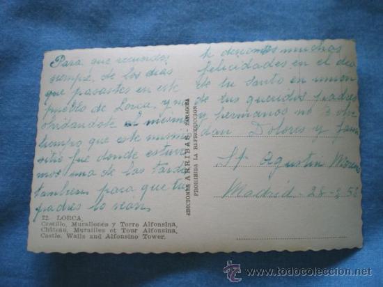 Postales: POSTAL LORCA MURCIA CASTILLO MURALLONES Y TORRE ALFONSINA 1958 ESCRITA - Foto 2 - 22022158