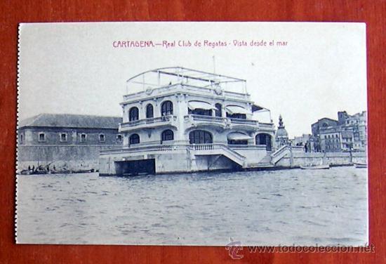 CARTAGENA - REAL CLUB DE REGATAS - VISTA DESDE EL MAR (Postales - España - Murcia Moderna (desde 1.940))
