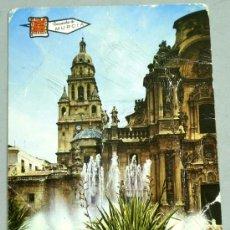 Postales: POSTAL RECUERDO DE MURCIA FUENTE PLAZA CATEDRAL 1971. Lote 21056670