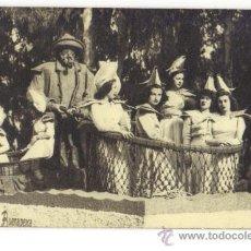 Postales: MURCIA-BATALLA DE LAS FLORES EN CARROZA -BUENA PESCA-SRTAS. CON PESCADOR. Lote 27109856