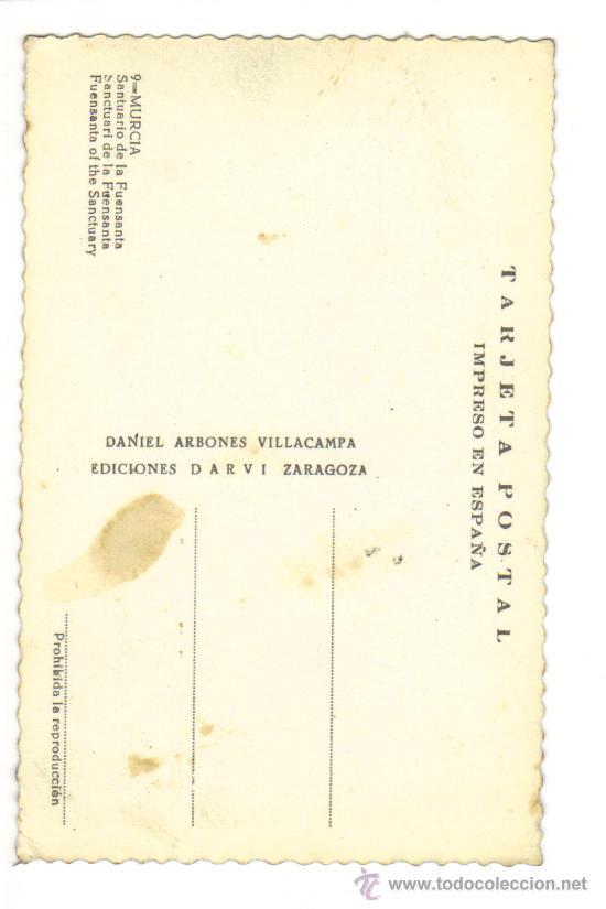 Postales: 9-MURCIA-SANTUARIO DE LA FUENSANTA-LATERAL MOMUMENTO A LOS CAIDOS. - Foto 2 - 27109850