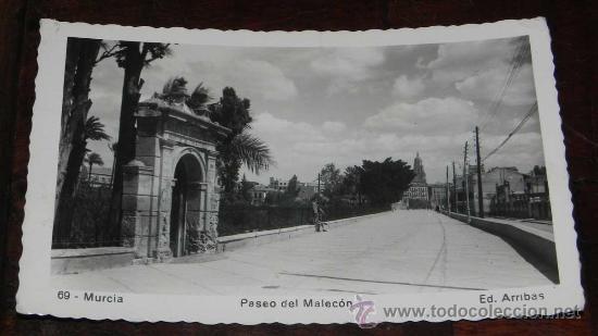 ANTIGUA FOTO POSTAL DE MURCIA - PASEO DEL MALECON - N. 69 - ED. ARRIBAS - CIRCULADA. (Postales - España - Murcia Moderna (desde 1.940))