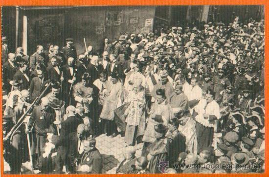 POSTAL ORIGINAL AÑO 1923 - CARTAGENA - LOS OBISPOS DETRAS DE LA VIRGEN DE LA CARIDAD - FOTO CASAÚ SC (Postales - España - Murcia Antigua (hasta 1.939))