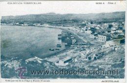 AGUILAS (MURCIA).- VISTA PARCIAL DE LA PLAYA Y PUERTO PONIENTE.- COLEC. TORRECILLAS, SERIE A Nº 1.- (Postales - España - Murcia Moderna (desde 1.940))