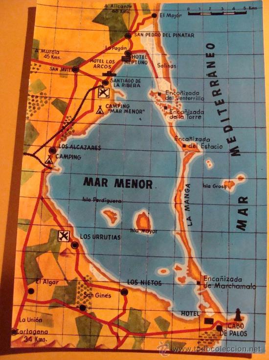 Mar Menor Mapa España.Postal De La Manga Del Mar Menor Murcia Anos 60 Mapa Los Nietos San Pedro Pinatar 206