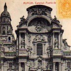 Postales: MURCIA CATEDRAL PUERTA ESCRITA CIRCULADA SELLO THOMAS CIRCULADA AÑO 1921 SELLO SIN MATASELLAR . Lote 30611065