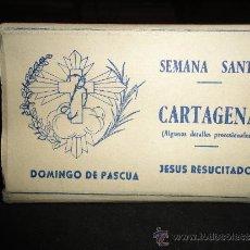 Postales: CARPETILLA CON 12 FANTASTICAS FOTOGRAFIAS DE LA SEMANA SANTA DE CARTAGENA, DETALLES PROCESIONALES. Lote 31770421