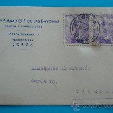 Postales: TARJETA POSTAL DE LORCA A VALENCIA, 2 DE MARZO 1952, TEJIDOS Y CONFECCIONES. Lote 38187860