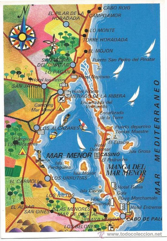 la manga mapa postal la manga del mar menor (murcia). mapa [   Comprar Postales  la manga mapa