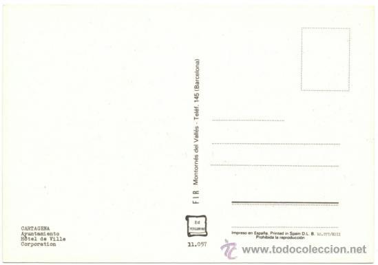 Postales: CARTAGENA.- AYUNTAMIENTO. - Foto 2 - 38917762