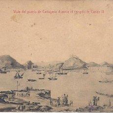 Postales: PS0751 CARTAGENA 'VISTA DEL PUERTO DE CARTAGENA DURANTE EL REINADO DE CARLOS III'. ED. CASAÚ.. Lote 39645486