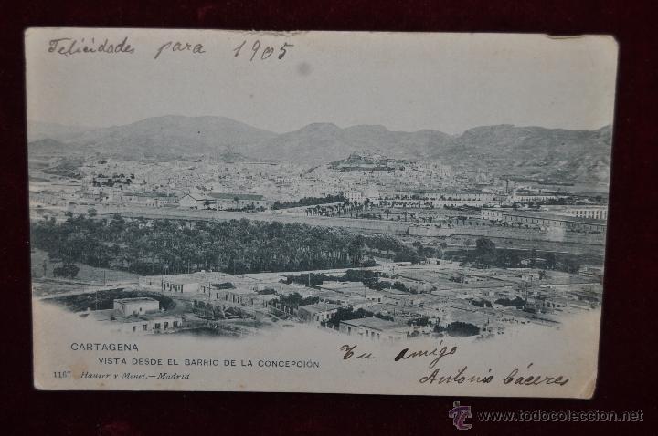 ANTIGUA POSTAL DE CARTAGENA. VISTA DESDE EL BARRIO DE LA CONCEPCION. HAUSER Y MENET. CIRCULADA (Postales - España - Murcia Antigua (hasta 1.939))