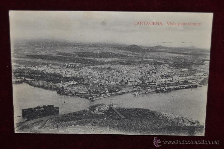 ANTIGUA POSTAL DE CARTAGENA. MURCIA. VISTA PANORAMICA. CIRCULADA (Postales - España - Murcia Antigua (hasta 1.939))