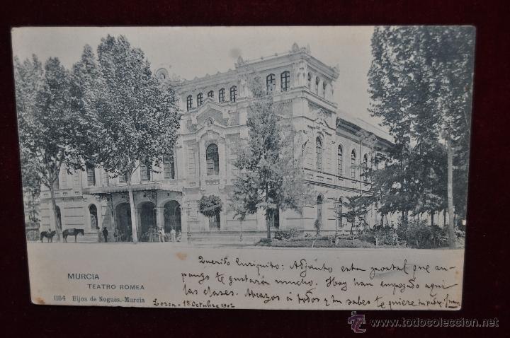 ANTIGUA POSTAL DE MURCIA. TEATRO ROMEA. HAUSER Y MENET. CIRCULADA (Postales - España - Murcia Antigua (hasta 1.939))