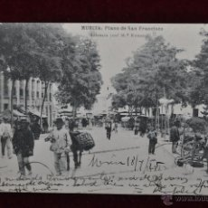 Postales: ANTIGUA POSTAL DE MURCIA. PLANO DE SAN FRANCISCO. HAUSER Y MENET. CIRCULADA. Lote 43125134