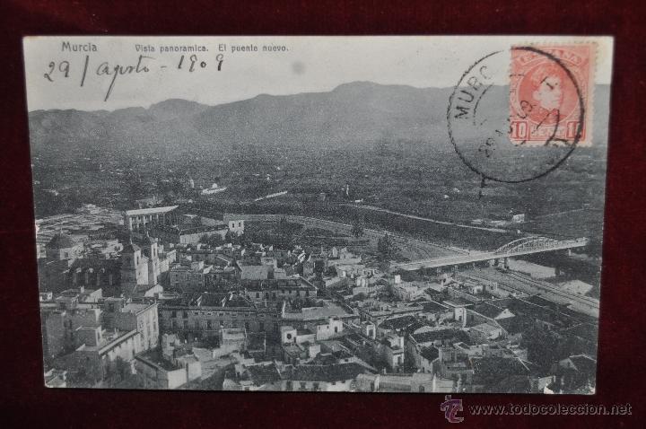 ANTIGUA POSTAL DE MURCIA. VISTA PANORAMICA. EL PUENTE NUEVO. CIRCULADA (Postales - España - Murcia Antigua (hasta 1.939))